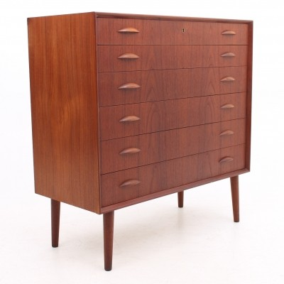 Tall boy chest of drawers from the fifties by Johannes Sorth for Nexø Møbelfabrik Bornholm