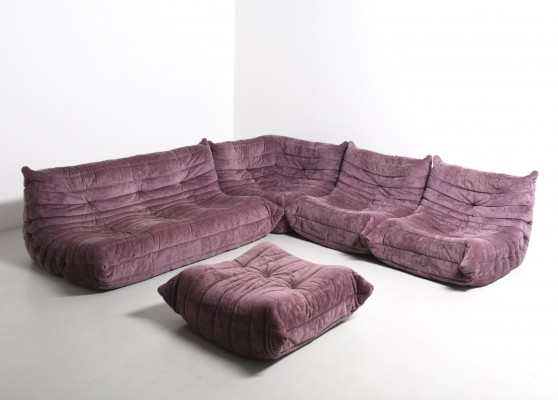 Lilac Togo seating group from the seventies by Michel Ducaroy for Ligne Roset