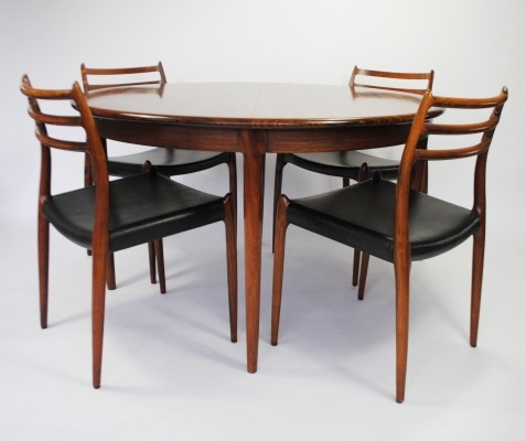 Model 78 chairs / Model 15 table dinner set by Niels Otto Møller for J L Møller, 1960s
