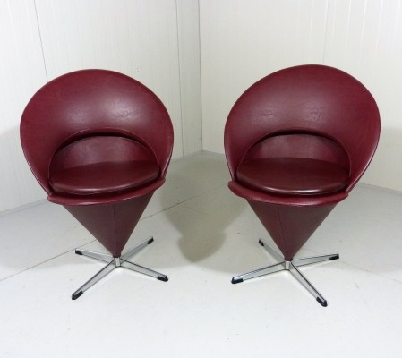 Set of 2 Cone dinner chairs from the sixties by Verner Panton for Plus Linje