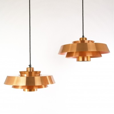Set of 2 Nova hanging lamps from the sixties by Jo Hammerborg for Fog & Mørup