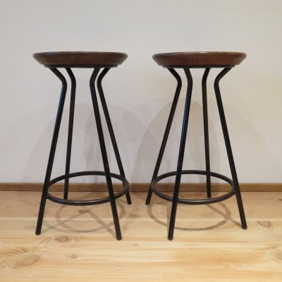 Set of 2 stools from the sixties by unknown designer for unknown producer