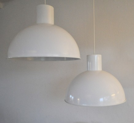 Pair of Maxi Bunker hanging lamps by Jo Hammerborg for Fog & Mørup, 1970s