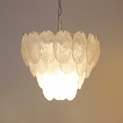 Murano Frosted Glass Leaves Chandelier by A.V. Mazzega, Italy