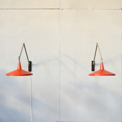 2 Panama / model 4050 wall lamps from the fifties by Wim Rietveld for Gispen