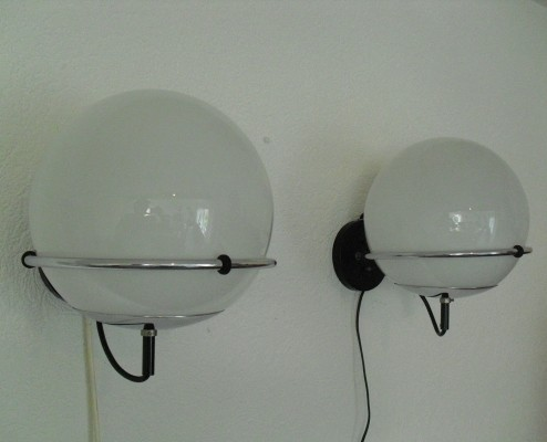2 Globe / C-1751 wall lamps from the sixties by Frank Ligtelijn for Raak Amsterdam