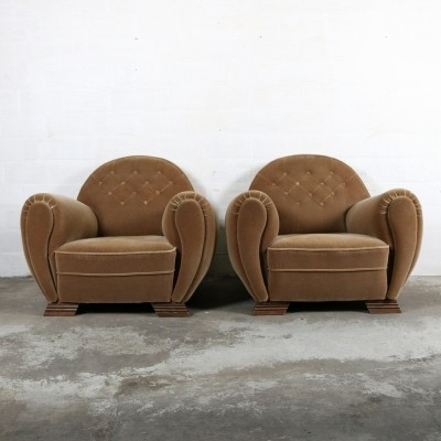 2 lounge chairs from the thirties by unknown designer for unknown producer