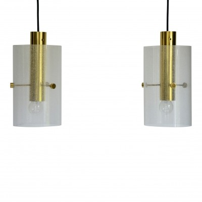 2 hanging lamps from the sixties by unknown designer for Glashutte Limburg