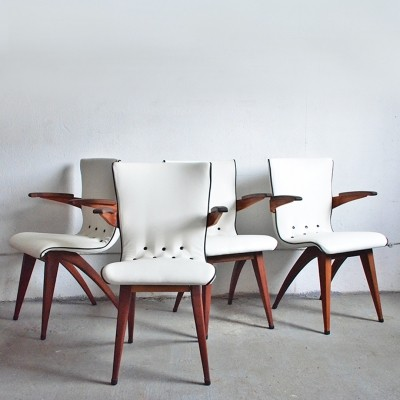 Set of 4 Swing arm chairs from the fifties by G. van Os for unknown producer