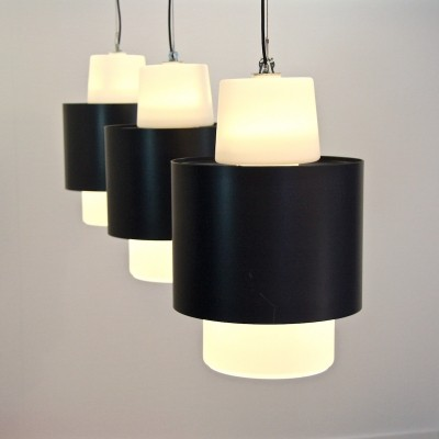 Set of 3 hanging lamps from the sixties by unknown designer for unknown producer