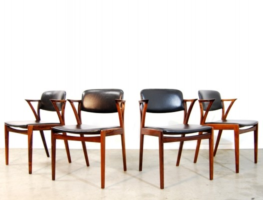 Set of 4 dinner chairs from the sixties by Kai Kristiansen for Bovenkamp
