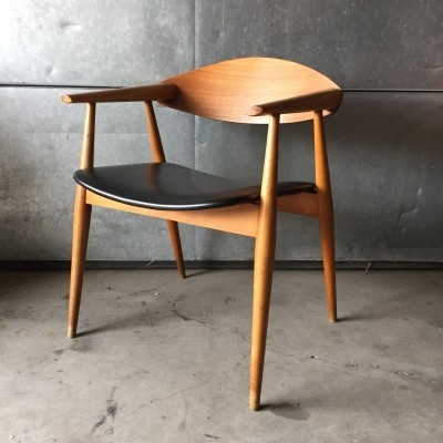 Danish designed plywood & teak arm chair