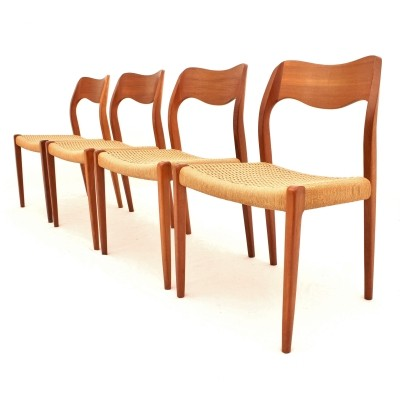 Model 71 dining chairs with papercord seats by Niels Møller for J.L. Møller