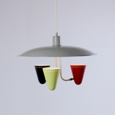 Saucer hanging lamp by H. Busquet for Hala Zeist, 1950s