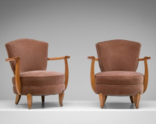 Pair of vintage lounge chairs, 1940s