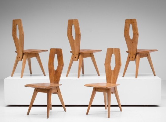 5 dinner chairs from the fifties by unknown designer for unknown producer