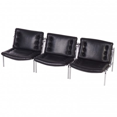Osaka Easy Chairs Model SZ077 / Nagoya 1 by Martin Visser for 't Spetrum, ca. 1969 | set of 3 in black leather