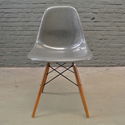 2 DSW Elephant Grey dinner chairs from the fifties by Charles & Ray Eames for Herman Miller