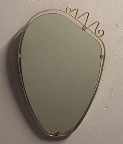 Italian floating mirror with brass details