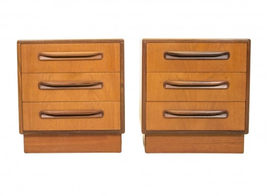 Set of 2 Fresco 3 Drawer Bedside Tables cabinets from the sixties by Victor Wilkins for G plan