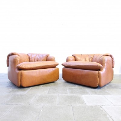Set of 2 lounge chairs from the seventies by Alberto Rosselli for Saporiti