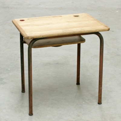 French Vintage MCA School Desk by Jacques Hitier for Mullca, 1950s