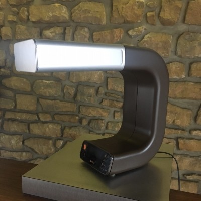 Integrated clock desk lamp from the seventies by Knox Design Team for Pfäffle Germany