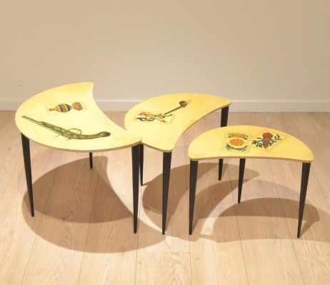 Nesting table from the fifties by Aldo Tura for unknown producer