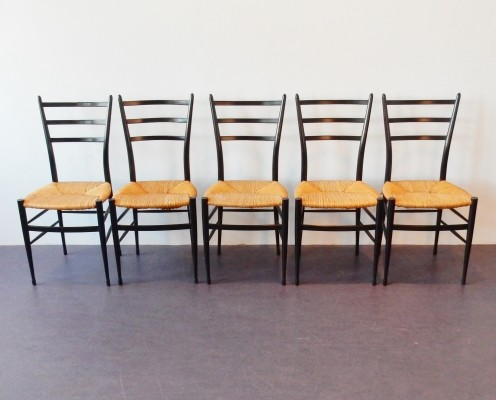 Set of 5 Spinetto dinner chairs from the fifties by unknown designer for Chiavari