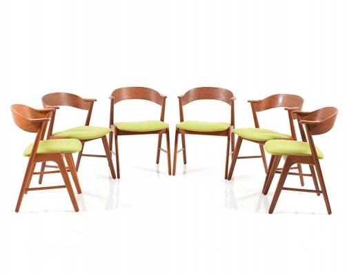 Set of 6 dinner chairs by Kai Kristiansen for Korup Stolefabrik, 1960s
