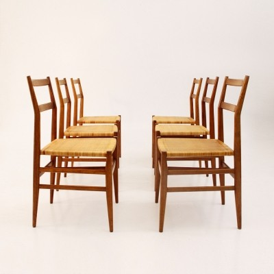 Set of 6 Leggera dinner chairs by Gio Ponti for Cassina, 1950s