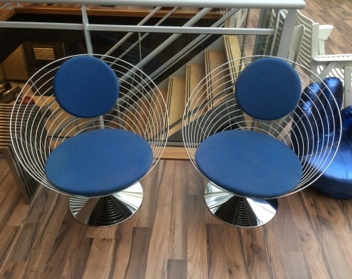 Pair of Wire-Cone lounge chairs by Verner Panton for Fritz Hansen, 1980s