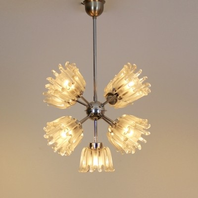 Chrome & Frosted Tulip Glass Chandelier by Doria