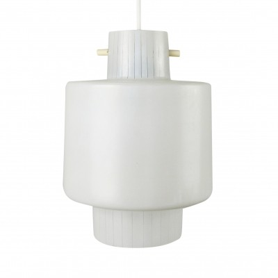 Milk glass pendant from the sixties with stripe pattern