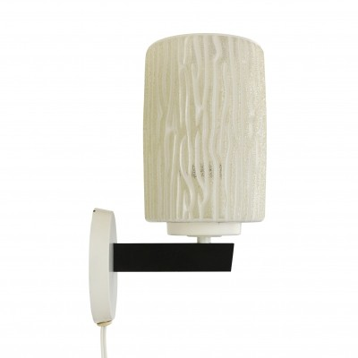 Modern black & white wall light with decorated glass shade, 1960s