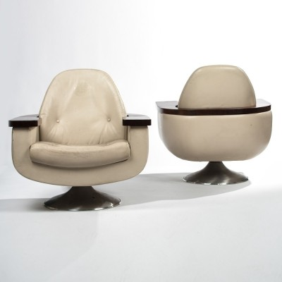 Pair of Darlington Town Council lounge chairs, 1970s