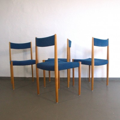 Set of 4 Cherrywood dinner chairs with blue fabric by Lübke