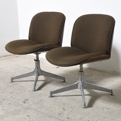 Pair of Ico Parisi Rosewood Desk Chairs with Brown Fabric Seat for MIM