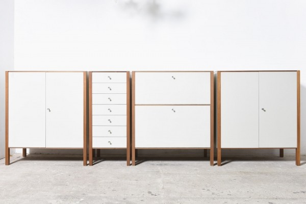 Set of 4 Model HE 153 cabinets by Hans Eichenberger for Röthlisberger, 1950s