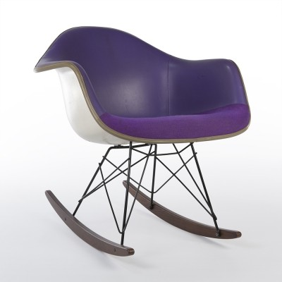 Purple RAR rocking chair from the seventies by Charles & Ray Eames & Alexander Girard for Herman Miller