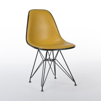 orange eames fiberglass arm shell on original black h base 60402. Black Bedroom Furniture Sets. Home Design Ideas