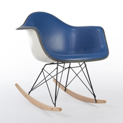 Blue RAR rocking chair from the seventies by Charles & Ray Eames & Alexander Girard for Herman Miller