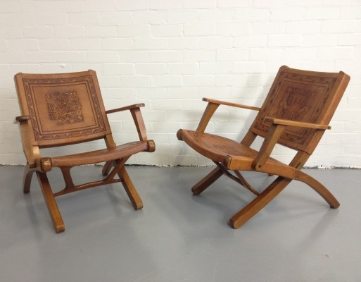 Set of 2 Folding lounge chairs from the seventies by unknown designer for unknown producer