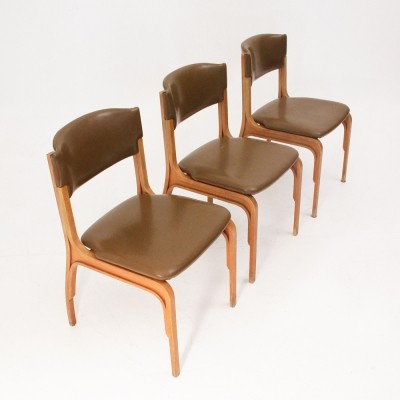 Set of 3 dinner chairs from the sixties by Gianfranco Frattini for Cantieri Carugati