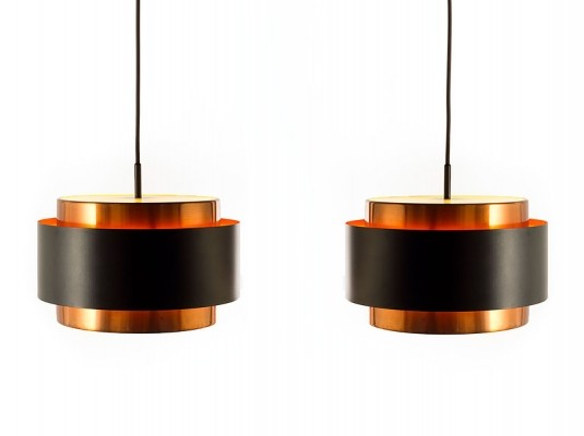 Set of 2 Saturn hanging lamps from the sixties by Jo Hammerborg for Fog & Mørup