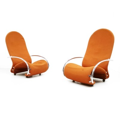 Pair of System 1 2 3 Easy Chair H arm chairs by Verner Panton for Fritz Hansen, 1970s