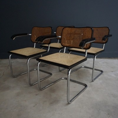 Set of 4 dinner chairs from the sixties by Marcel Breuer for Cidue