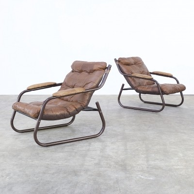 Set of 2 lounge chairs from the seventies by unknown designer for unknown producer