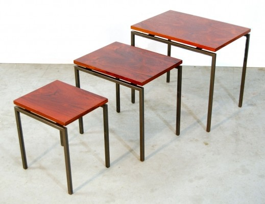 Set of 3 nesting tables from the sixties by unknown designer for unknown producer
