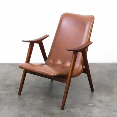 Wébé Fauteuil by Louis van Teeffelen, teak with original artificial leather